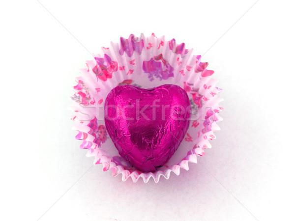 Rose coeur chocolat papier gâteau cas Photo stock © bobbigmac