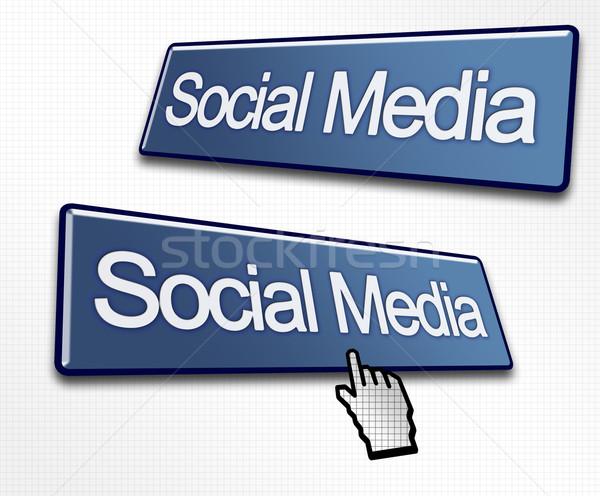 Dos medios de comunicación social botones mano cursor negocios Foto stock © bobbigmac