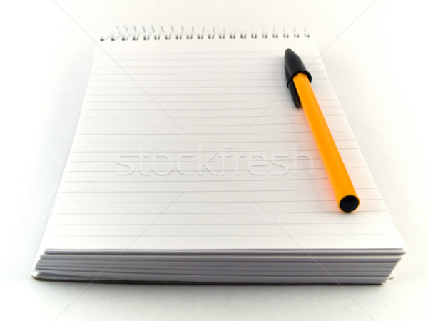 Ballpoint Pen and Notepad on White Stock photo © bobbigmac