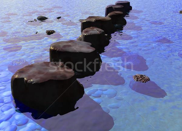 Piedras azul océano río escena Foto stock © bobbigmac
