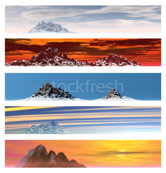 Vijf afgelegen berg landschap banners banner Stockfoto © bobbigmac