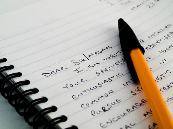 Carta bloc de notas papel escrito blanco Foto stock © bobbigmac