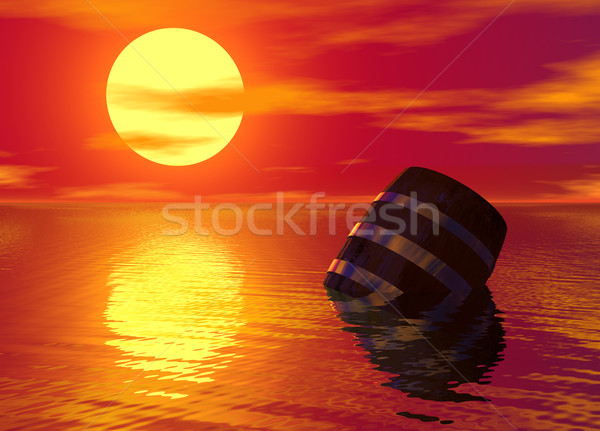 Barrel Floating in the Ocean Stock photo © bobbigmac