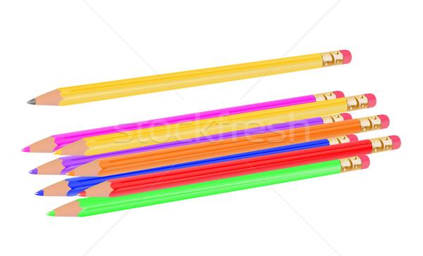 карандашей коллекция радуга бумаги работу дизайна Сток-фото © bobbigmac