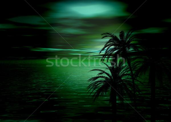Verde mar cielo puesta de sol árbol silueta Foto stock © bobbigmac