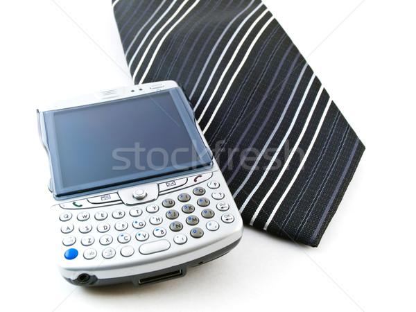 Pda cellulare cravatta bianco business telefono Foto d'archivio © bobbigmac