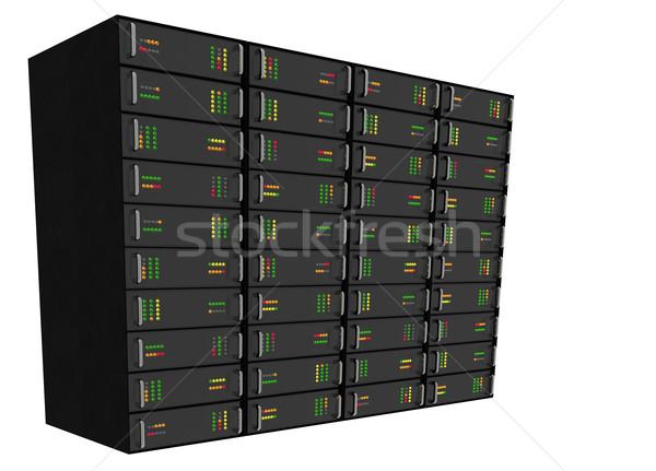 Háló hosting szerver rack fehér nagy technológia Stock fotó © bobbigmac