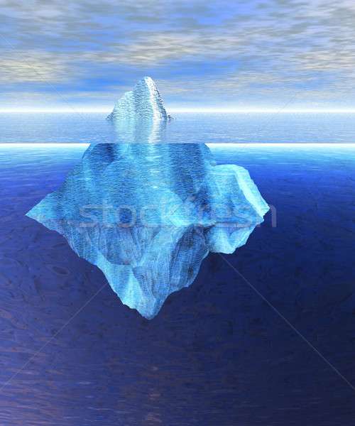 Floating Iceberg in the Open Ocean with Horizo Stock photo © bobbigmac