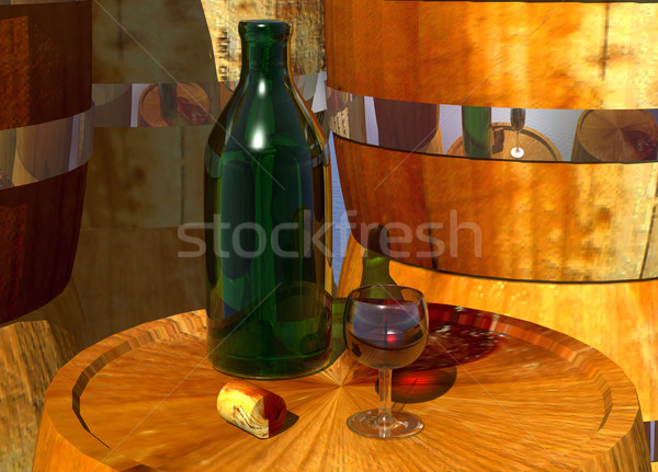 Green Bottle and Glass of Wine Stock photo © bobbigmac