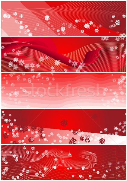 Cinco copo de nieve Navidad banners rojo banner Foto stock © bobbigmac