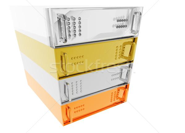 Oro plata bronce rack de servidores Hosting vidrio Foto stock © bobbigmac