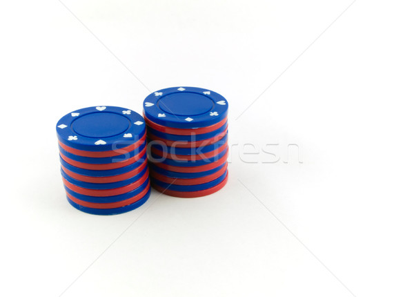 Red And Blue Poker Chips on White Stock photo © bobbigmac