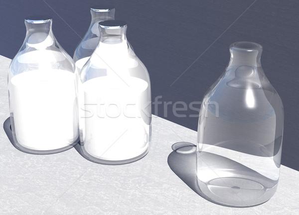 четыре британский стиль стекла молоко бутылок Сток-фото © bobbigmac