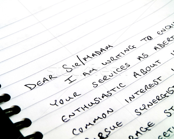 Dear Sir Handwritten Writing a Letter on Notepad Stock photo © bobbigmac