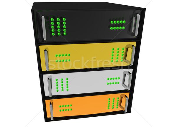 Arany ezüst bronz szerver rack hosting üveg Stock fotó © bobbigmac