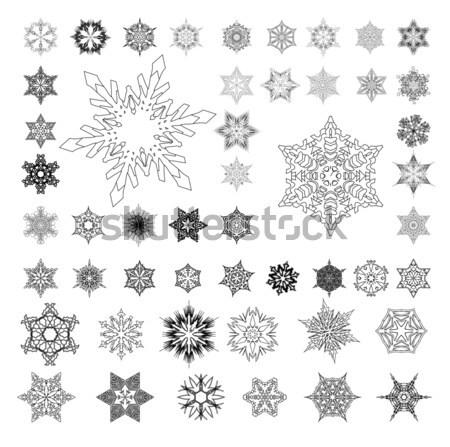 Flocons de neige silhouette blanche ensemble illustration design Photo stock © bobbigmac