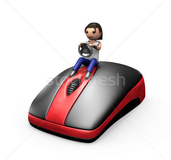 3D парень вождения ПК мыши молодые Сток-фото © bobbigmac