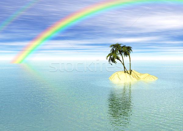 Romantique désert île palmier Rainbow horizon Photo stock © bobbigmac