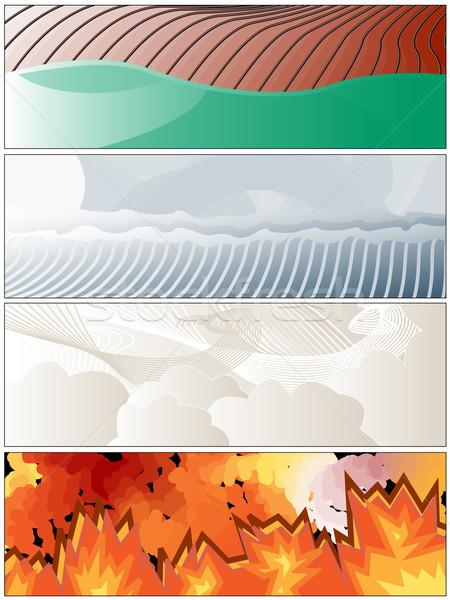 четыре Элементы огня земле ветер воды Сток-фото © bobbigmac