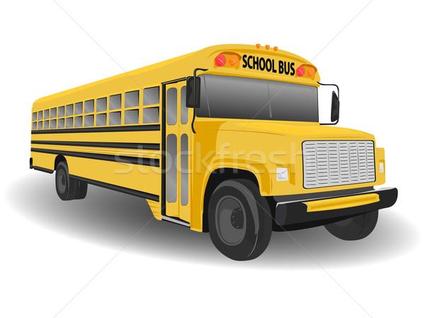 традиционный американский школьный автобус иллюстрация белый детей Сток-фото © bobbigmac