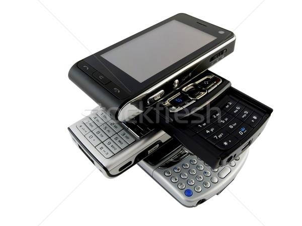 Parecchi smartphone bianco isolato design Foto d'archivio © bobbigmac