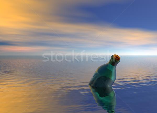 Foto stock: Mensagem · garrafa · flutuante · oceano · verde · céu
