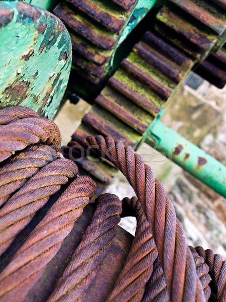 Stahl Seil Draht Zahnräder industriellen Szene Stock foto © bobbigmac