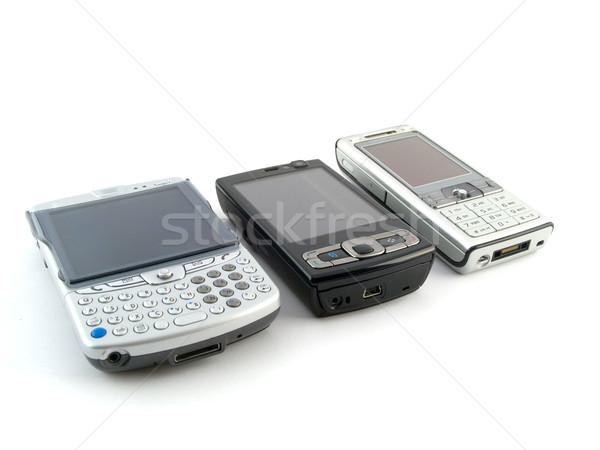 Moderna teléfonos móviles blanco ordenador Internet Foto stock © bobbigmac