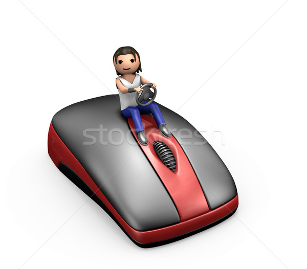 3D jóvenes tipo conducción ratón de la computadora hombre 3d Foto stock © bobbigmac