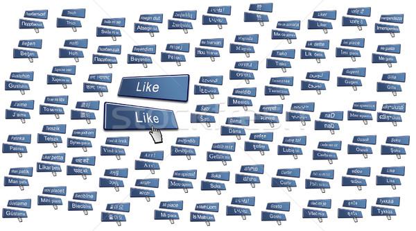 Comme bouton 80 internationaux langues médias sociaux Photo stock © bobbigmac