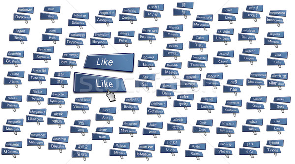 Like Button in 80 International Languages Stock photo © bobbigmac