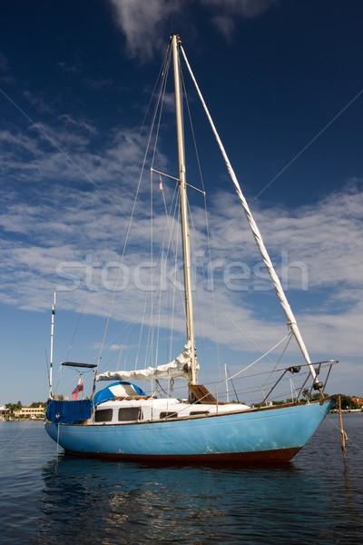 Kék jacht vitorlás horgony kék ég Stock fotó © bobhackett