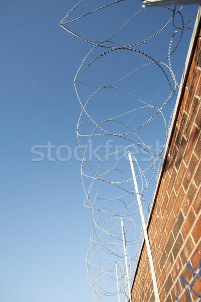 Borotva drót fal felső téglafal Stock fotó © bobhackett