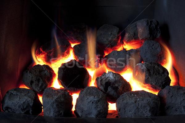 Szén tűz benzin égő mesterséges piros Stock fotó © bobhackett