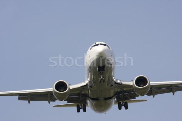 Repülőgép föld iker gép kék repülőgép Stock fotó © bobhackett