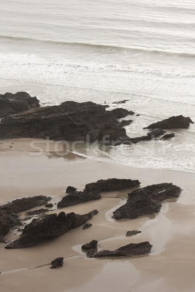 Tengerpart jelenet kövek homokos tengerpart tél tájkép Stock fotó © bobhackett