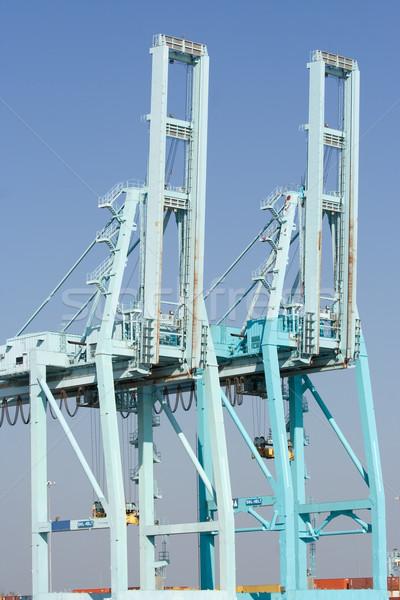 Container paar haven blauwe hemel Blauw kraan Stockfoto © bobhackett