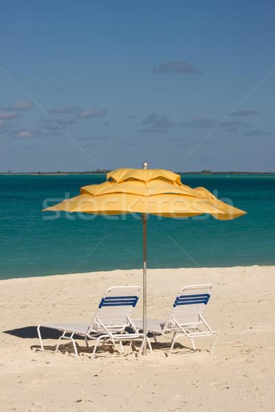 üres tengerpart nap esernyők trópusi tengerpart tenger Stock fotó © bobhackett
