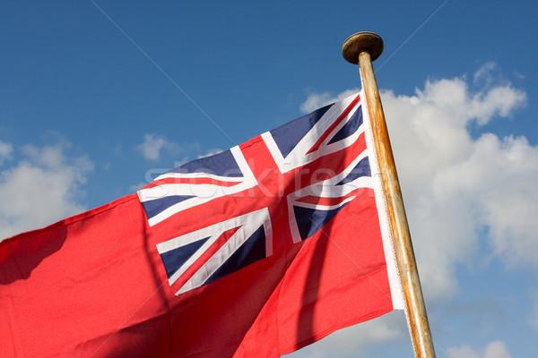 Piros brit zászló kék ég fa Stock fotó © bobhackett