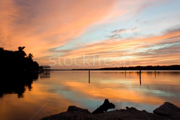 Folyó naplemente csendes Florida égbolt Stock fotó © bobhackett