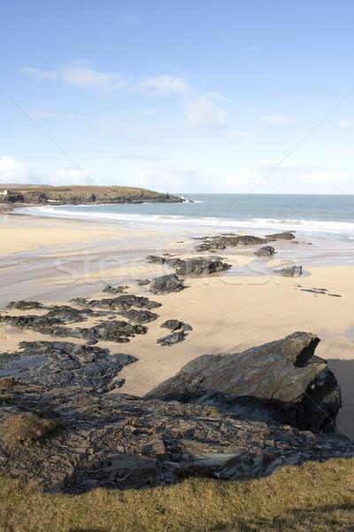 Strand rotsen verlaten winter zonneschijn Stockfoto © bobhackett