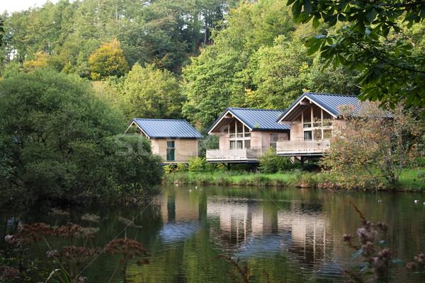 Erdő fa park tó ház Stock fotó © bobhackett