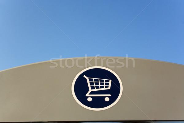 Bevásárlókocsi felirat tető áruház bolt Stock fotó © bobhackett
