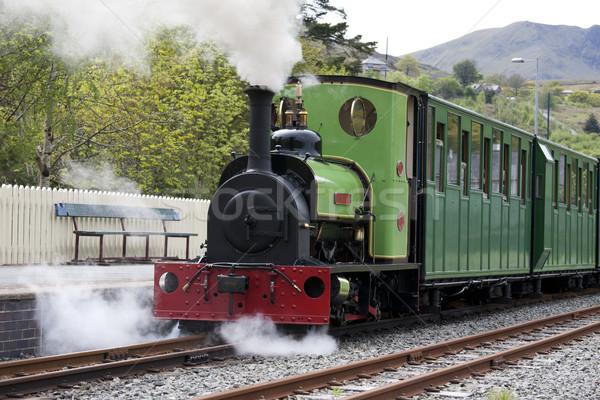 Gőz vonat kicsi hegy vasútállomás Stock fotó © bobhackett