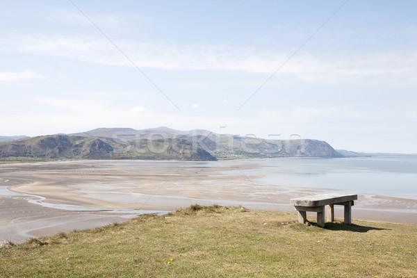 ülés kilátás fából készült pad nagy tengerpart Stock fotó © bobhackett