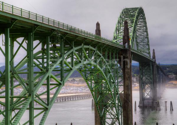Ködös híd hdr előtér öreg zöld Stock fotó © bobkeenan