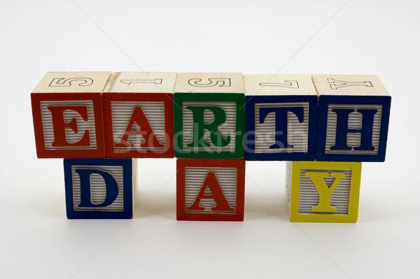 Earth Day Toy Blocks Stock photo © bobkeenan