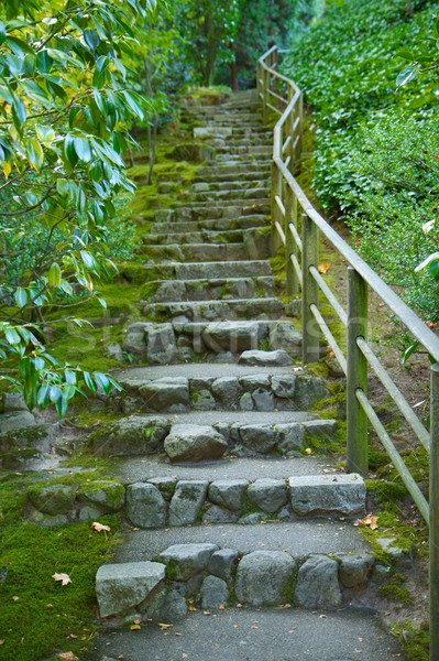 Stock photo: Japanese garden stone staircase