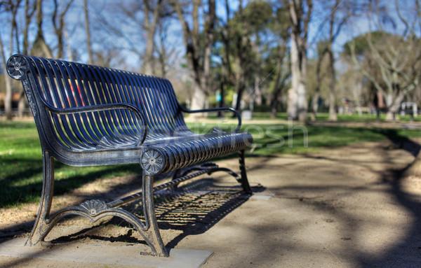 Metal park bench deeper dof Stock photo © bobkeenan