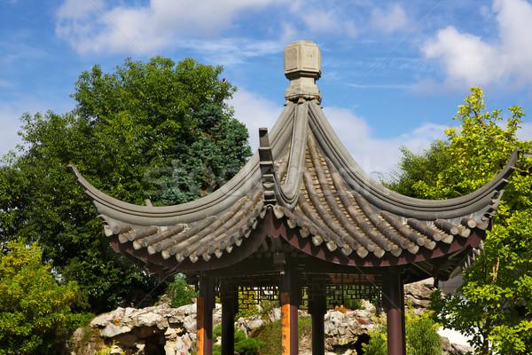 Piccolo cinese pagoda tetto cielo blu Foto d'archivio © bobkeenan